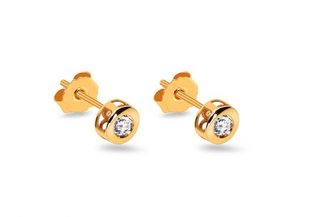 Clous d'oreilles en or et diamant 0.120 ct